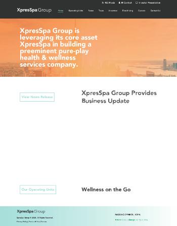 XpresSpa Group, Inc. Website Screenshot