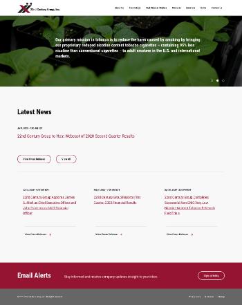 22nd Century Group, Inc. Website Screenshot