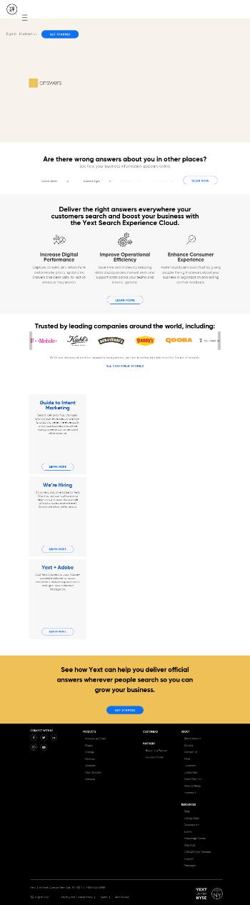 Yext, Inc. Website Screenshot