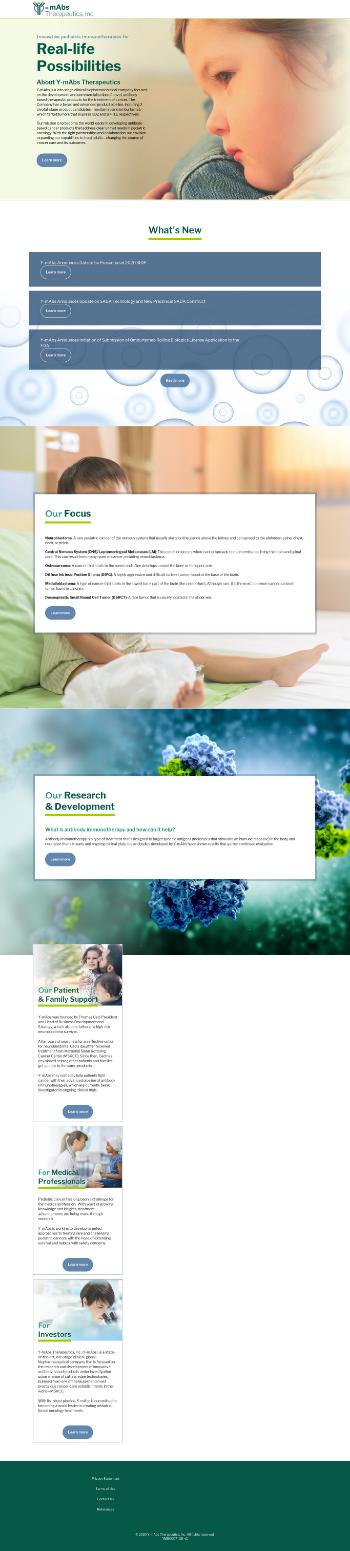 Y-mAbs Therapeutics, Inc. Website Screenshot