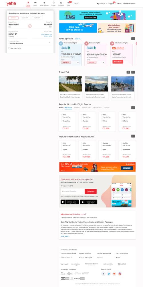 Yatra Online, Inc. Website Screenshot