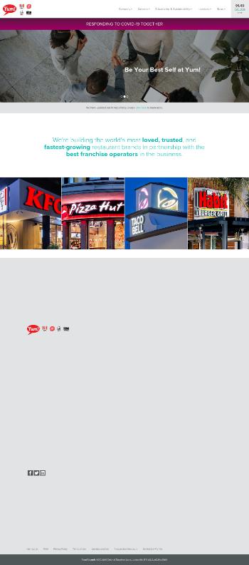 Yum! Brands, Inc. Website Screenshot