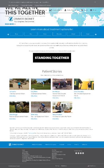 Zimmer Biomet Holdings, Inc. Website Screenshot