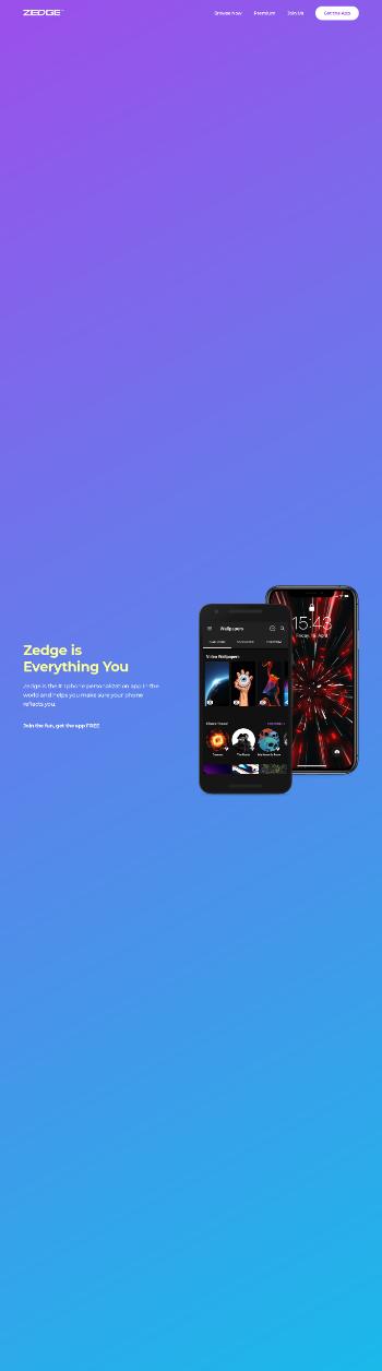Zedge, Inc. Website Screenshot