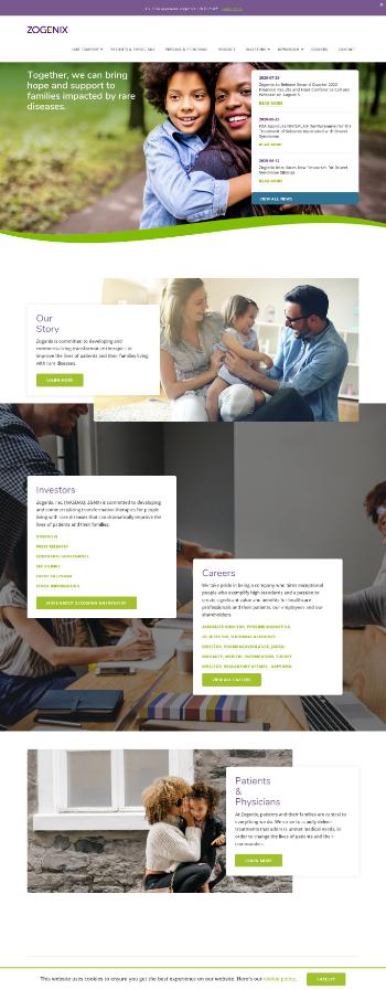 Zogenix, Inc. Website Screenshot