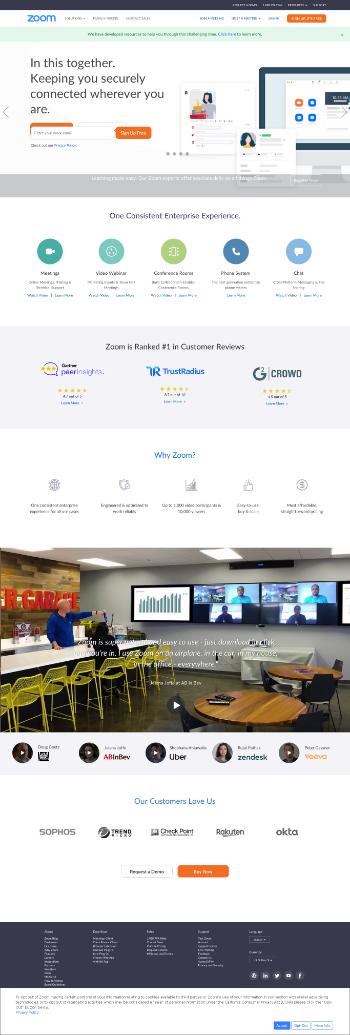 Zoom Video Communications, Inc. Website Screenshot