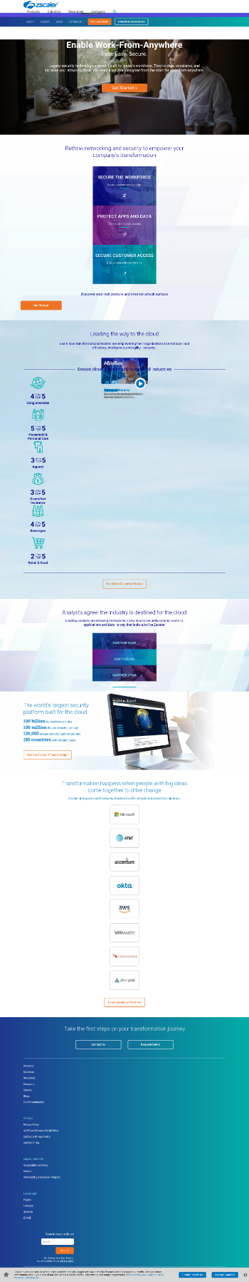 Zscaler, Inc. Website Screenshot