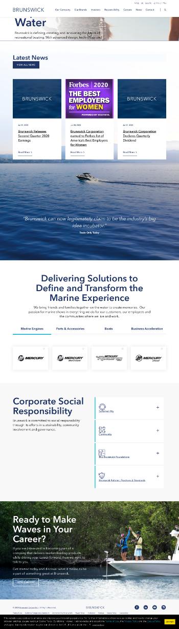 Brunswick Corporation Website Screenshot