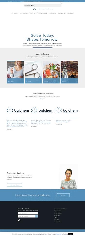 Balchem Corporation Website Screenshot