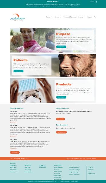 BioDelivery Sciences International, Inc. Website Screenshot