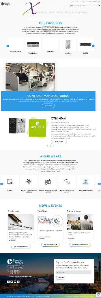 Blonder Tongue Laboratories, Inc. Website Screenshot