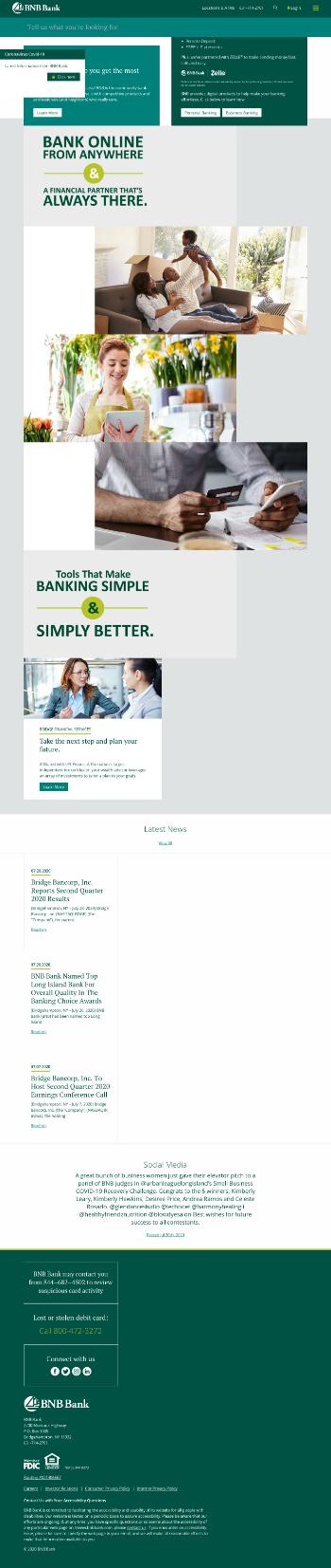 Bridge Bancorp, Inc. Website Screenshot