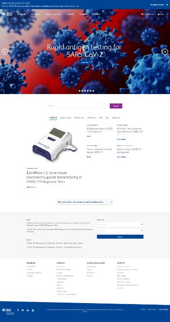 Becton, Dickinson and Company Website Screenshot