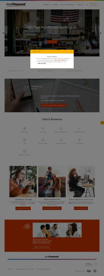 BankFinancial Corporation Website Screenshot