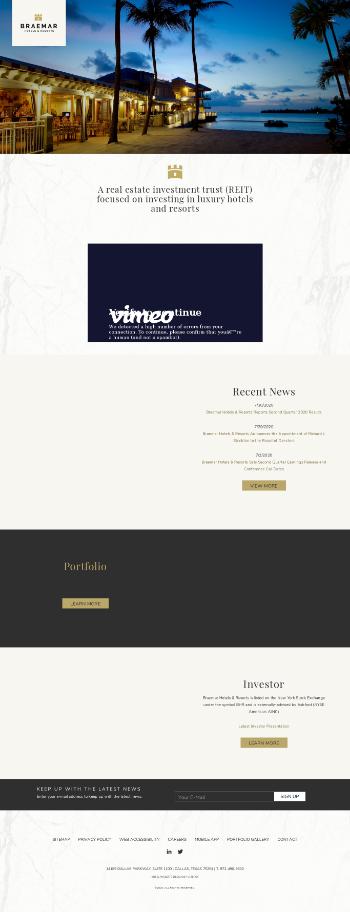Braemar Hotels & Resorts, Inc. Website Screenshot