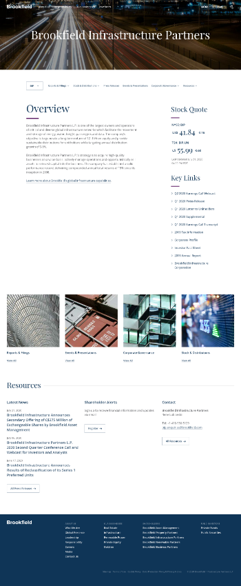 Brookfield Infrastructure Corporation Website Screenshot
