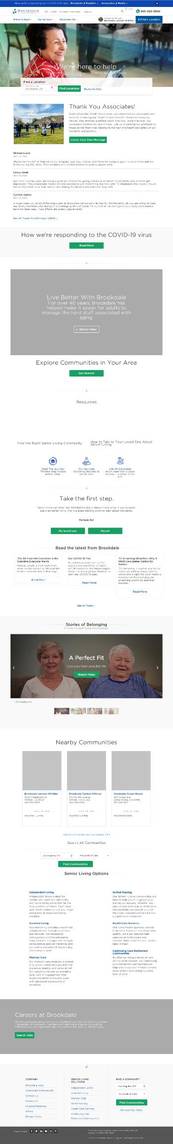 Brookdale Senior Living Inc. Website Screenshot