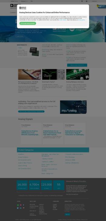 Analog Devices, Inc. Website Screenshot