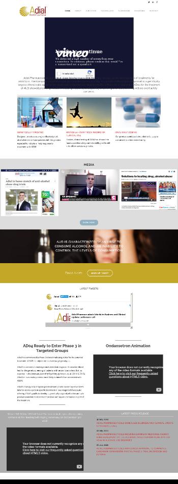 Adial Pharmaceuticals, Inc. Website Screenshot
