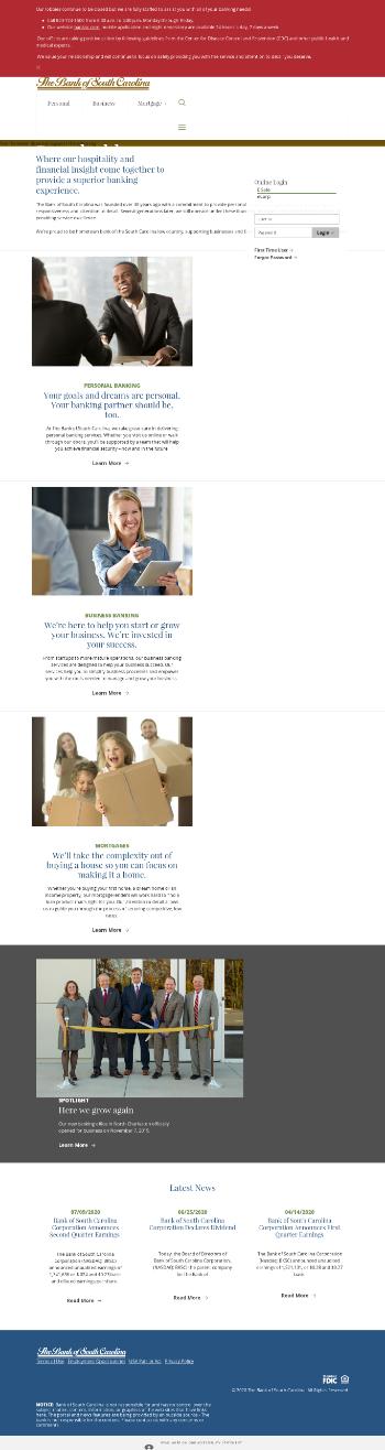 Bank of South Carolina Corporation Website Screenshot