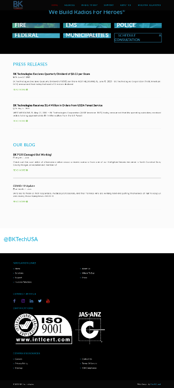 BK Technologies Corporation Website Screenshot