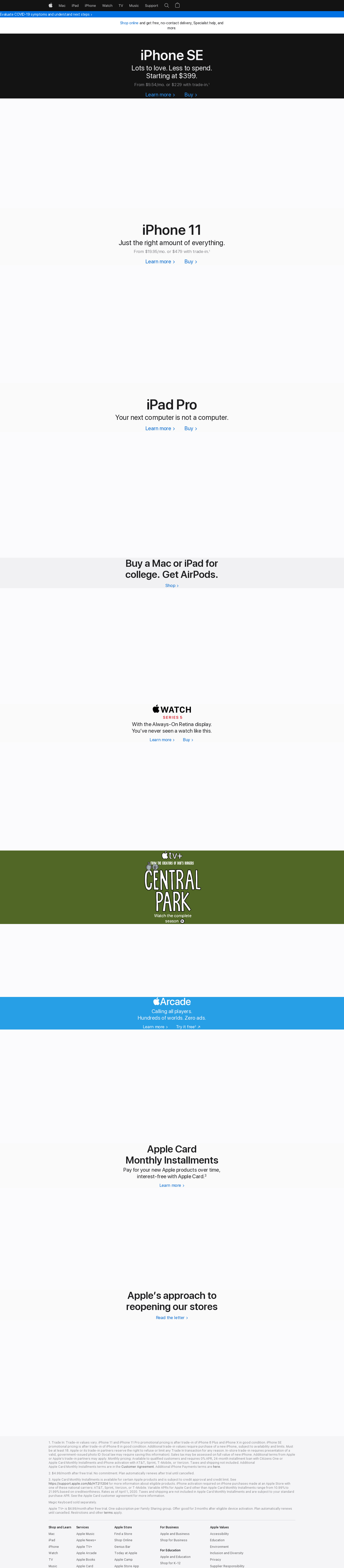 Apple Inc. Website Screenshot
