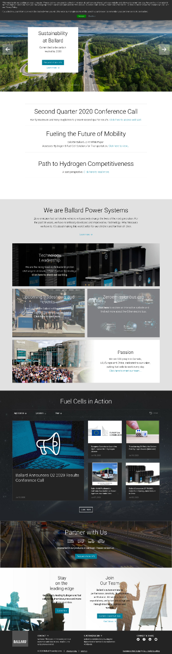 Ballard Power Systems Inc. Website Screenshot