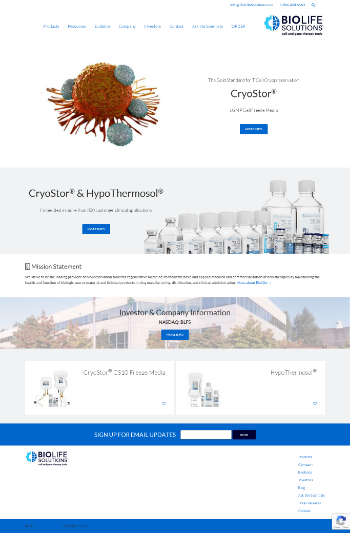 BioLife Solutions, Inc. Website Screenshot