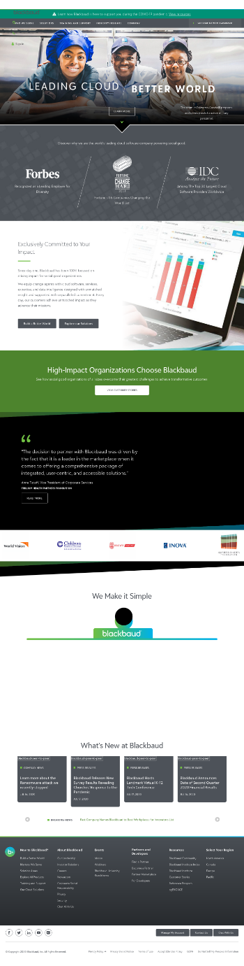 Blackbaud, Inc. Website Screenshot