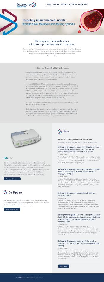 Bellerophon Therapeutics, Inc. Website Screenshot