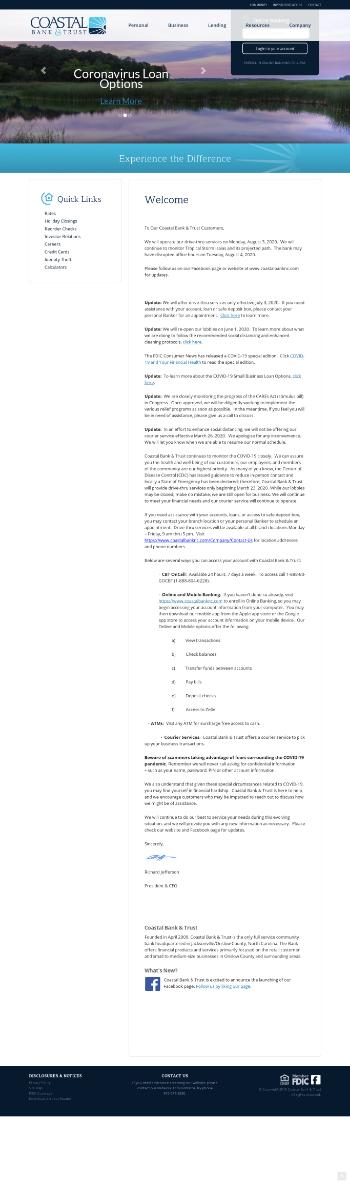 Coastal Bank & Trust Website Screenshot