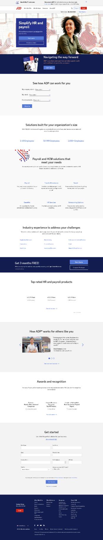 Automatic Data Processing, Inc. Website Screenshot