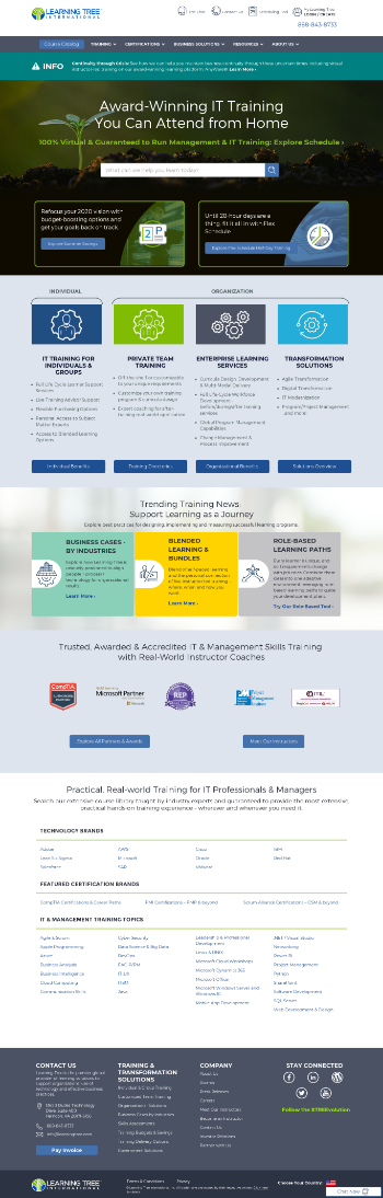 Learning Tree International, Inc. Website Screenshot