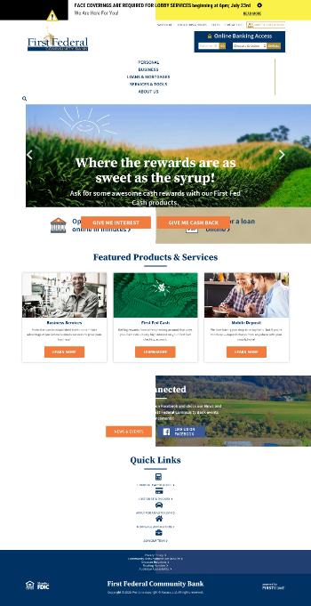 FFD Financial Corporation Website Screenshot