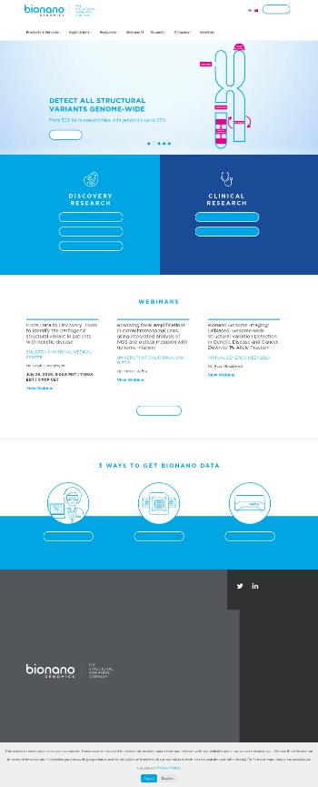 Bionano Genomics, Inc. Website Screenshot