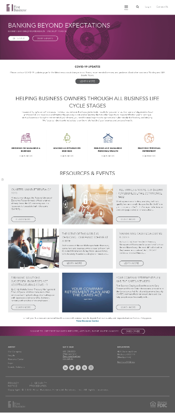 First Business Financial Services, Inc. Website Screenshot