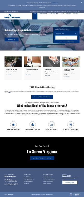 Bank of the James Financial Group, Inc. Website Screenshot