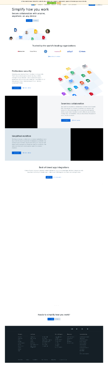 Box, Inc. Website Screenshot