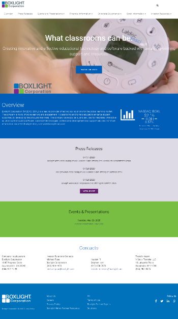 Boxlight Corporation Website Screenshot