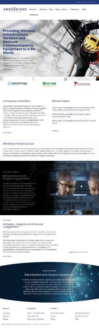 Addvantage Technologies Grp.  Website Screenshot