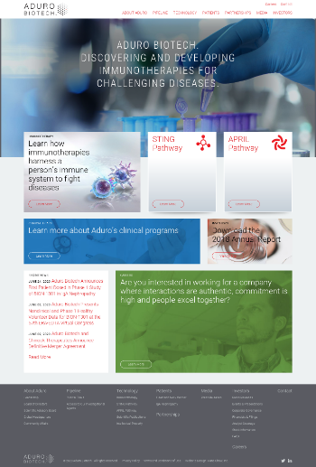 Aduro Biotech, Inc. Website Screenshot