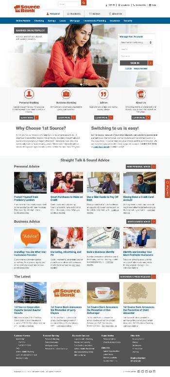 1st Source Corporation Website Screenshot