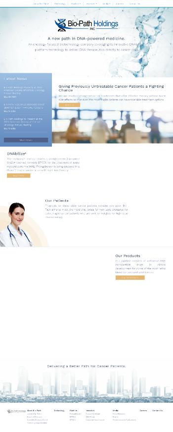 Bio-Path Holdings, Inc. Website Screenshot
