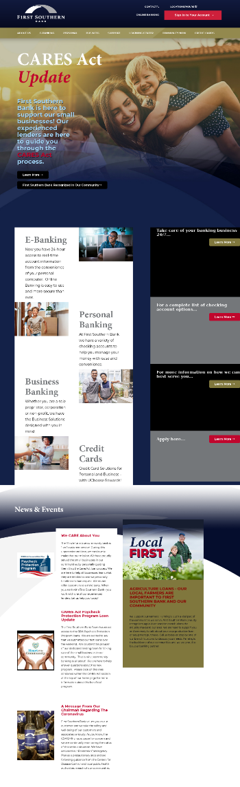 First Southern Bank Website Screenshot