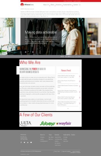 Alliance Data Systems Corporation Website Screenshot