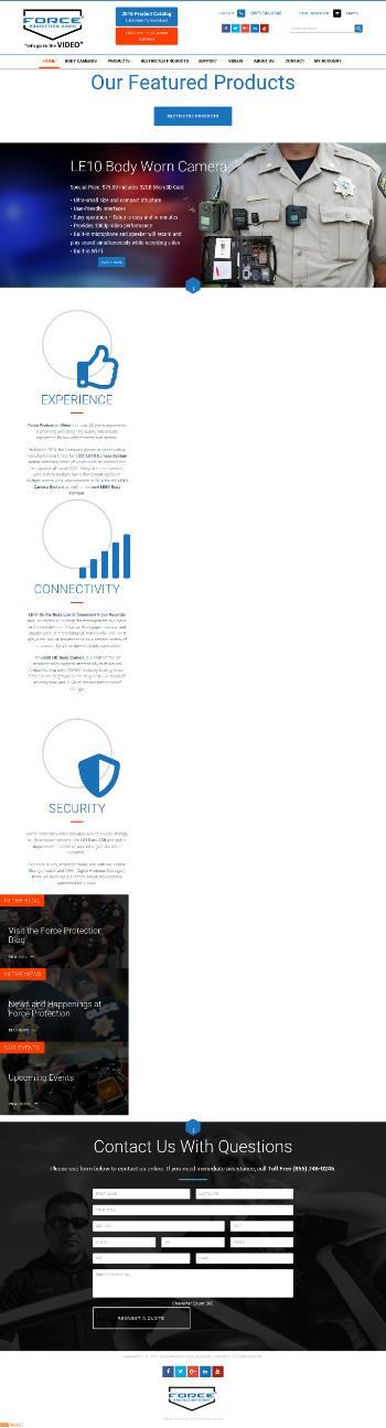 Force Protection Video Equipment Corp. Website Screenshot