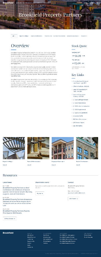 Brookfield Property Partners L.P. Website Screenshot