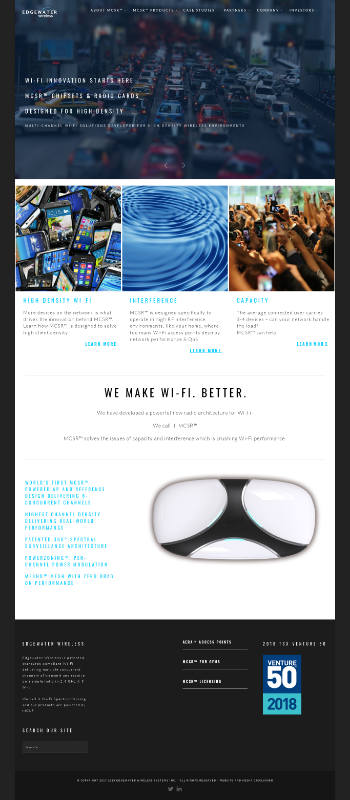 Edgewater Wireless Systems Inc. Website Screenshot