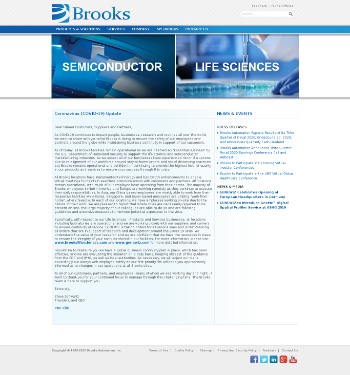 Brooks Automation, Inc. Website Screenshot