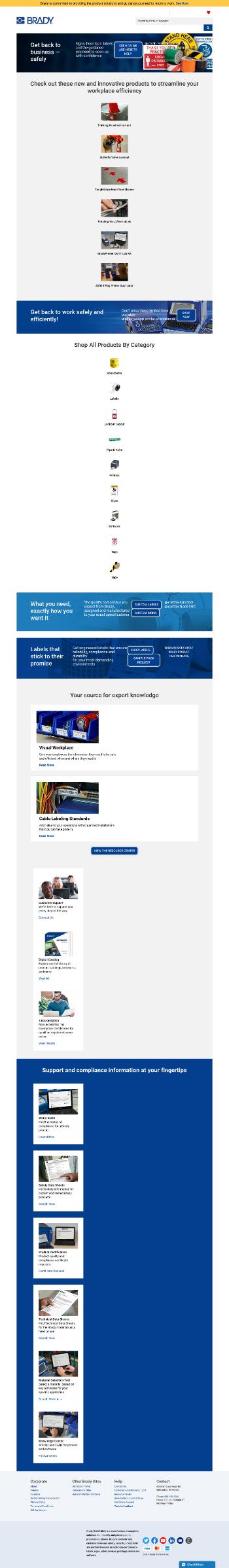 Brady Corporation Website Screenshot